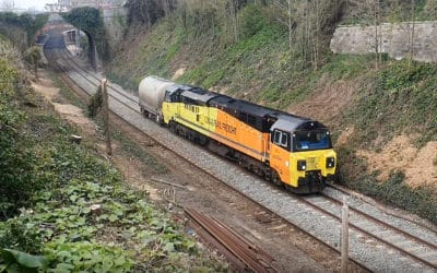 Freight trains passing over the sea wall April 1& 2 2020