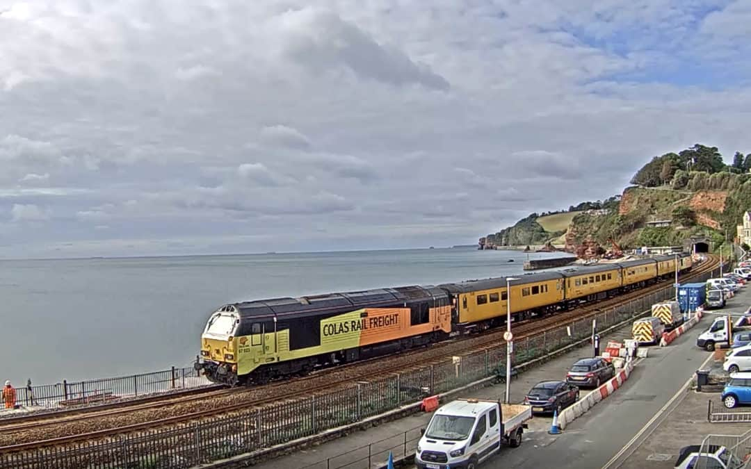 Busy Day at Dawlish with non passenger trains. June 5th 2020